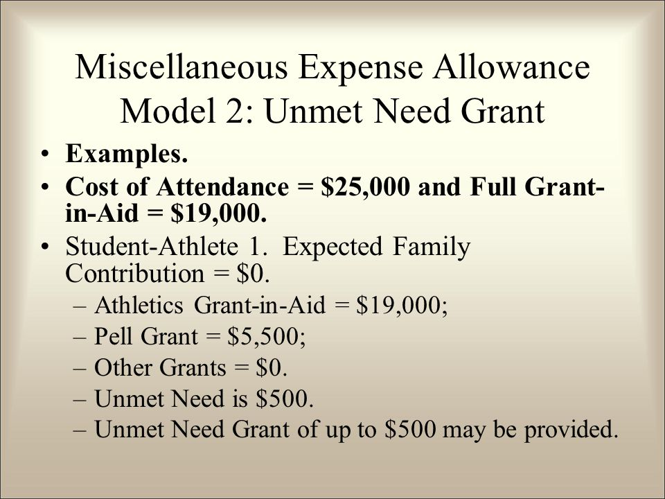 Examples. Cost of Attendance = $25,000 and Full Grant- in-Aid = $19,000.