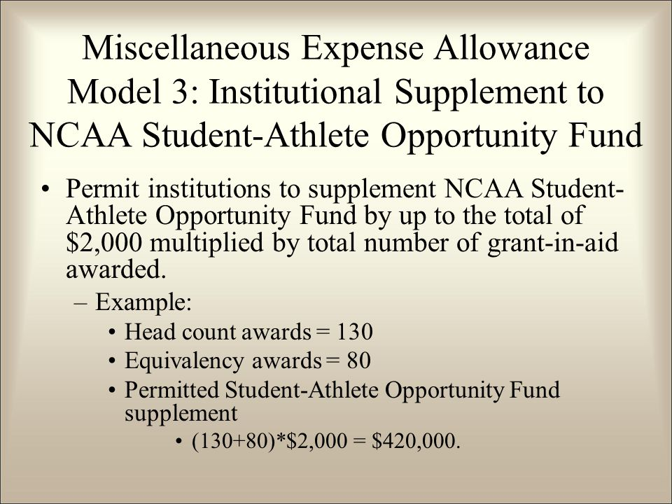 Permit institutions to supplement NCAA Student- Athlete Opportunity Fund by up to the total of $2,000 multiplied by total number of grant-in-aid awarded.
