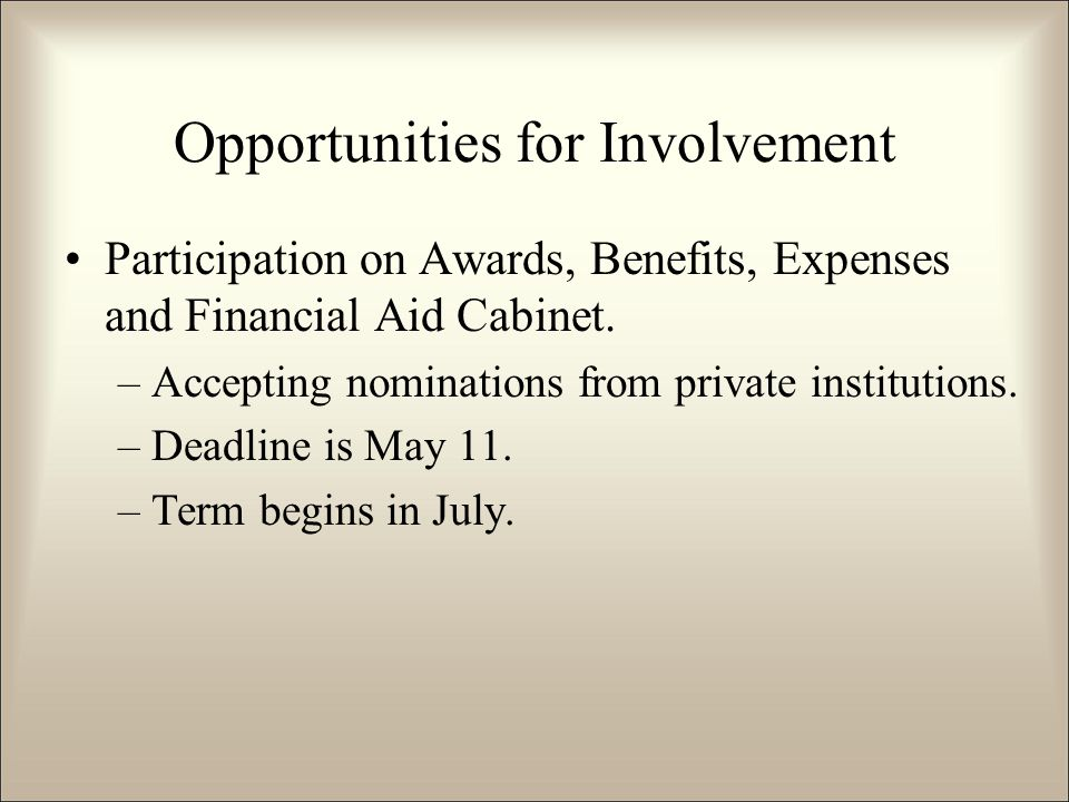 Participation on Awards, Benefits, Expenses and Financial Aid Cabinet.