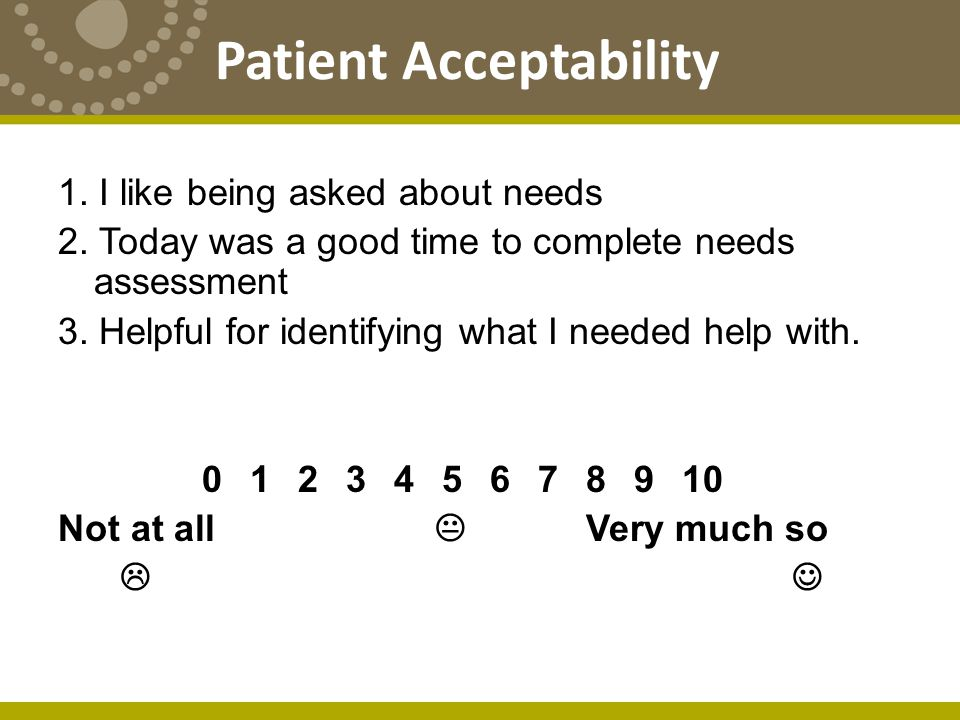 Patient Acceptability 1. I like being asked about needs 2.