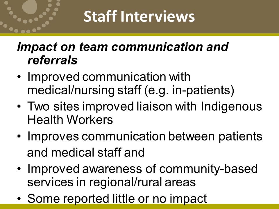 Impact on team communication and referrals Improved communication with medical/nursing staff (e.g.