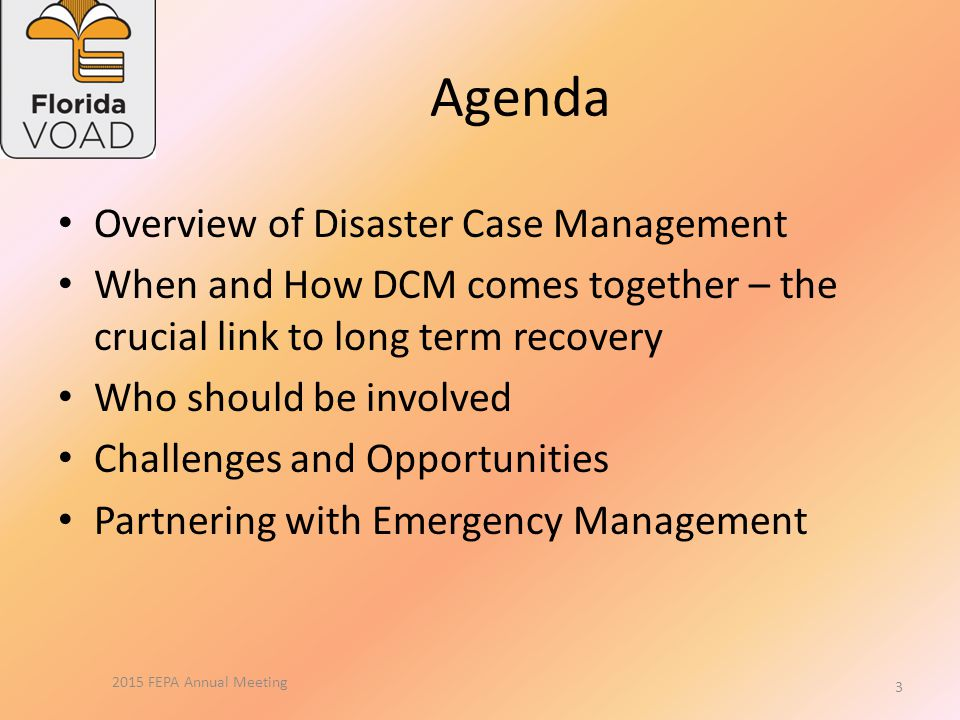 Goal Common understanding and language for Disaster Case Management (DCM) Importance of DCM for whole community recovery Critical role of emergency management in facilitating and supporting DCM 2015 FEPA Annual Meeting 2