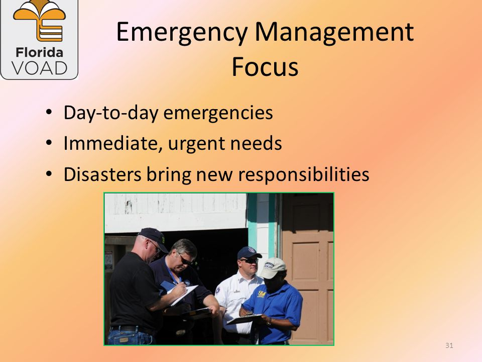 Emergency Management Mission of Florida DEM Working together to ensure that Florida is prepared to respond to emergencies, recover from them, and mitigate against their impacts.