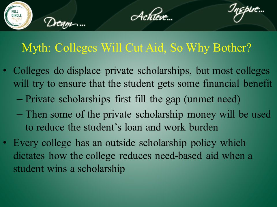 Myth: Colleges Will Cut Aid, So Why Bother.