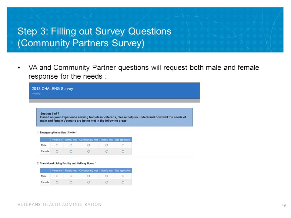 VETERANS HEALTH ADMINISTRATION Step 3: Filling out Survey Questions (Community Partners Survey) VA and Community Partner questions will request both male and female response for the needs : 19