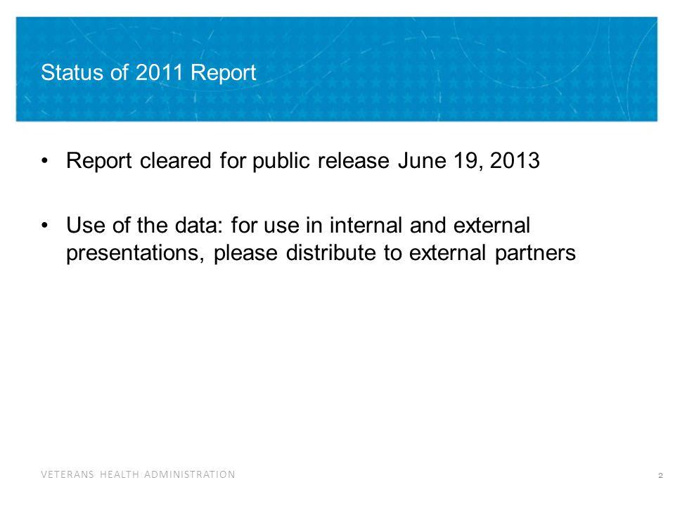 VETERANS HEALTH ADMINISTRATION 2011 Findings Top 10 Unmet Needs 1.