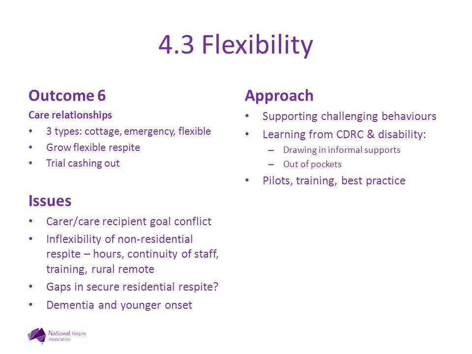 4.3 Flexibility Outcome 6 Care relationships 3 types: cottage, emergency, flexible Grow flexible respite Trial cashing out Issues Carer/care recipient