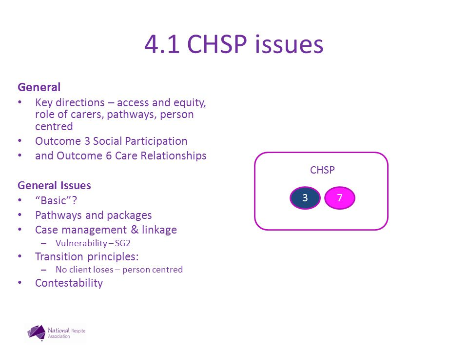 4.1 CHSP issues General Key directions – access and equity, role of carers, pathways, person centred Outcome 3 Social Participation and Outcome 6 Care Relationships General Issues Basic .