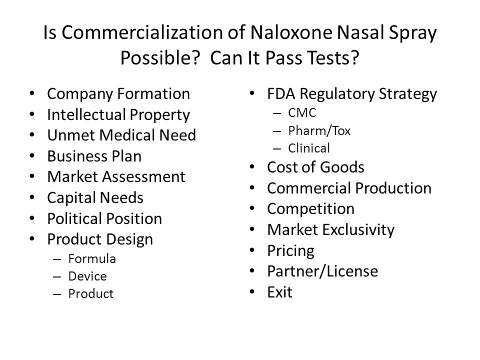 Is Commercialization of Naloxone Nasal Spray Possible.