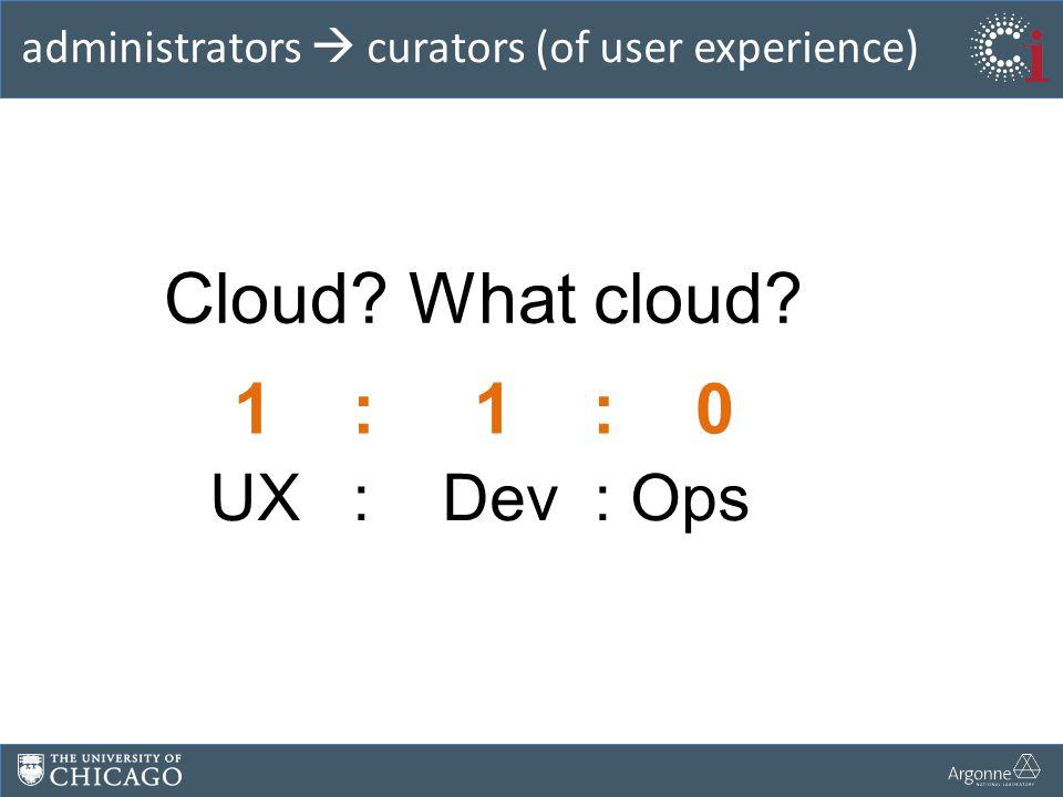 administrators  curators (of user experience) Cloud? What cloud? 1 : 1 : 0 UX : Dev : Ops
