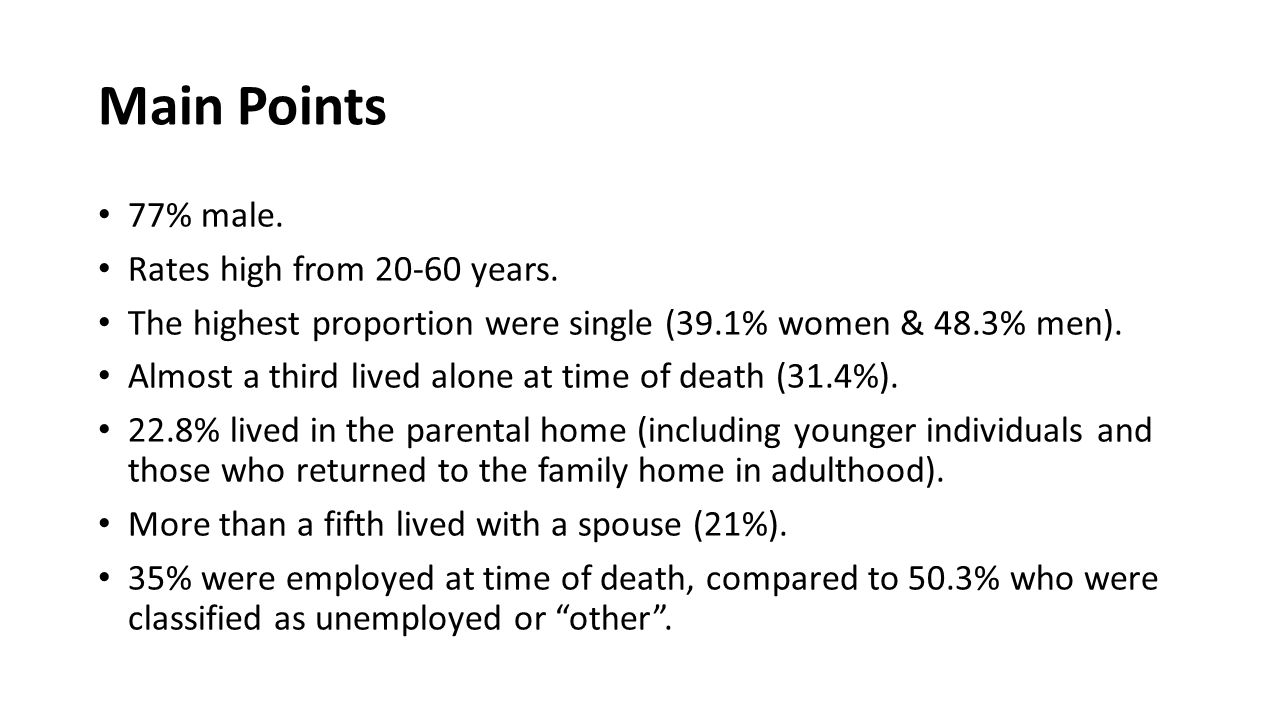 Main Points 77% male. Rates high from 20-60 years. The highest proportion were single (39.1% women & 48.3% men). Almost a third lived alone at time of