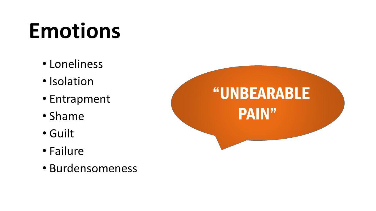 "Emotions Loneliness Isolation Entrapment Shame Guilt Failure Burdensomeness ""UNBEARABLE PAIN"""