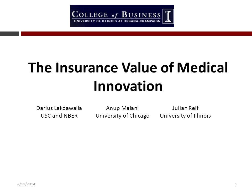 14/11/2014 The Insurance Value of Medical Innovation Darius LakdawallaAnup MalaniJulian Reif USC and NBERUniversity of ChicagoUniversity of Illinois