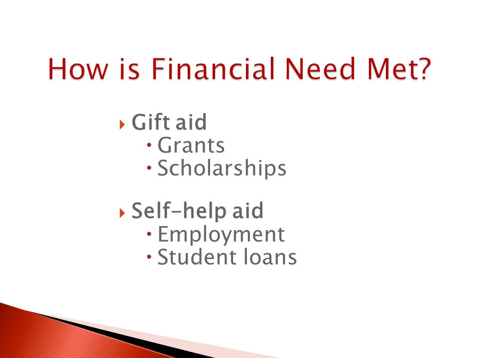  Gift aid  Grants  Scholarships  Self-help aid  Employment  Student loans