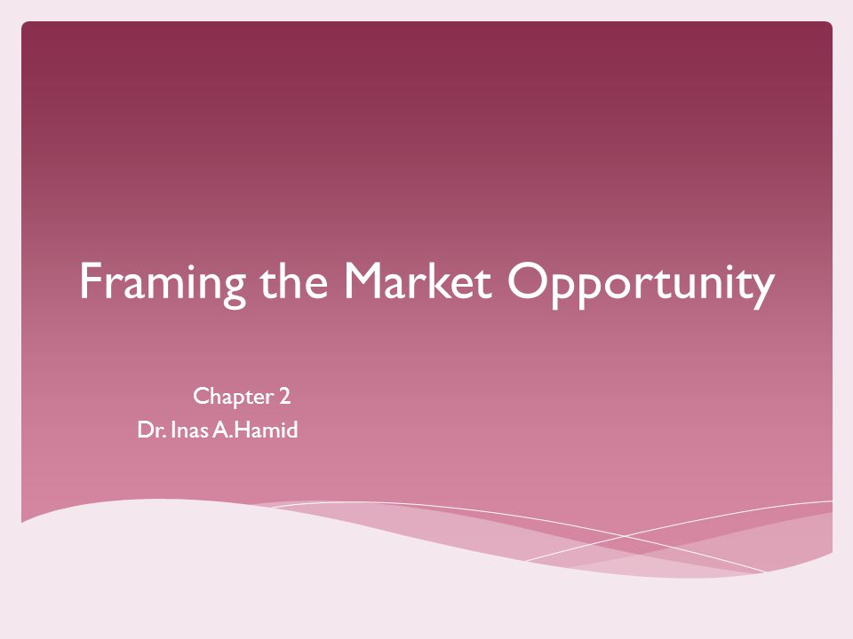 Framing the Market Opportunity Chapter 2 Dr. Inas A.Hamid