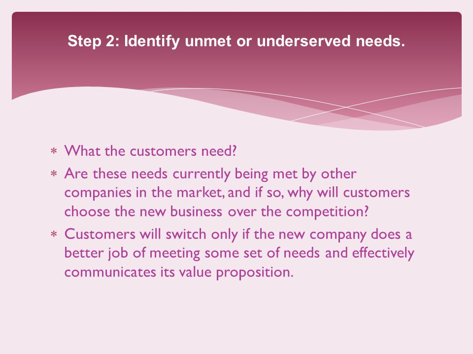 Step 2: Identify unmet or underserved needs. What the customers need.