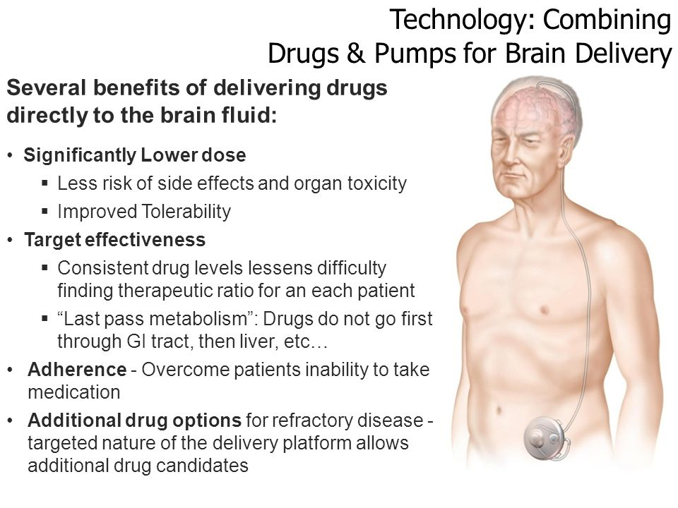 Technology: Combining Drugs & Pumps for Brain Delivery Several benefits of delivering drugs directly to the brain fluid: Significantly Lower dose  Less risk of side effects and organ toxicity  Improved Tolerability Target effectiveness  Consistent drug levels lessens difficulty finding therapeutic ratio for an each patient  Last pass metabolism : Drugs do not go first through GI tract, then liver, etc… Adherence - Overcome patients inability to take medication Additional drug options for refractory disease - targeted nature of the delivery platform allows additional drug candidates