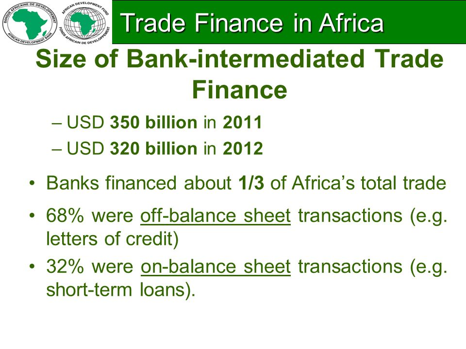 Size of Bank-intermediated Trade Finance –USD 350 billion in 2011 –USD 320 billion in 2012 Banks financed about 1/3 of Africa's total trade 68% were off-balance sheet transactions (e.g.