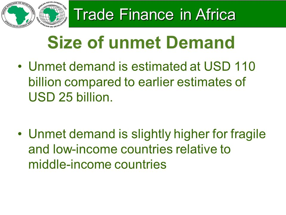 High Unmet Demand : Bank rejection rates for issuing L/Cs Trade Finance in Africa Trade Finance in Africa