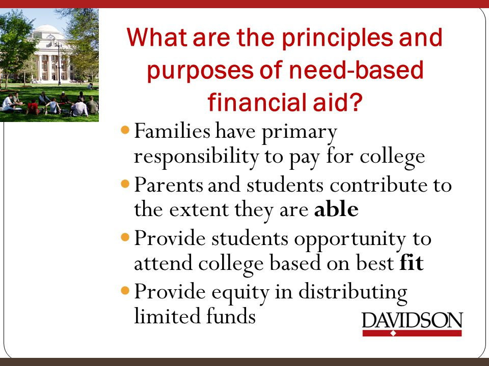 What are the principles and purposes of need-based financial aid.