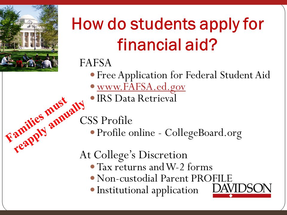 How do students apply for financial aid.