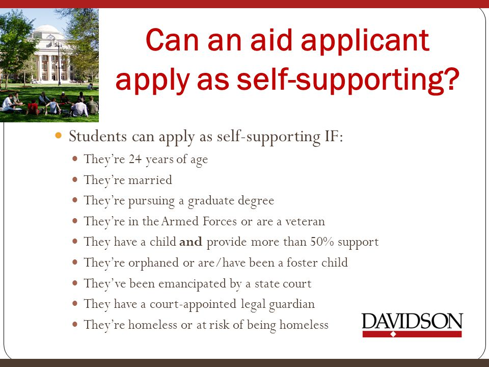 Can an aid applicant apply as self-supporting.