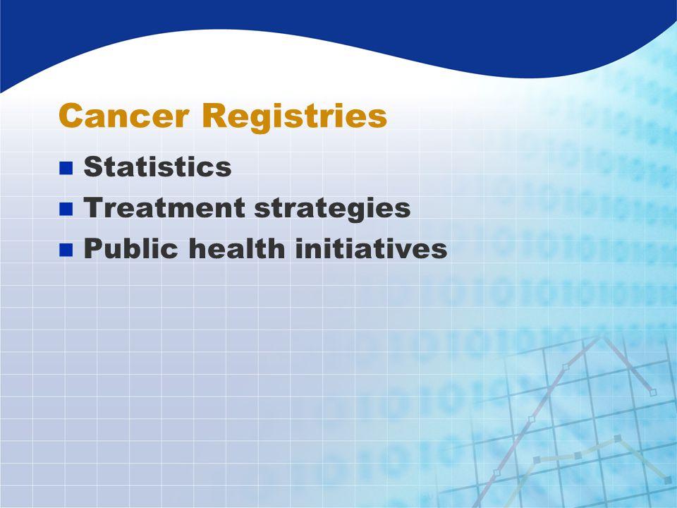 Cancer Registries n Statistics n Treatment strategies n Public health initiatives