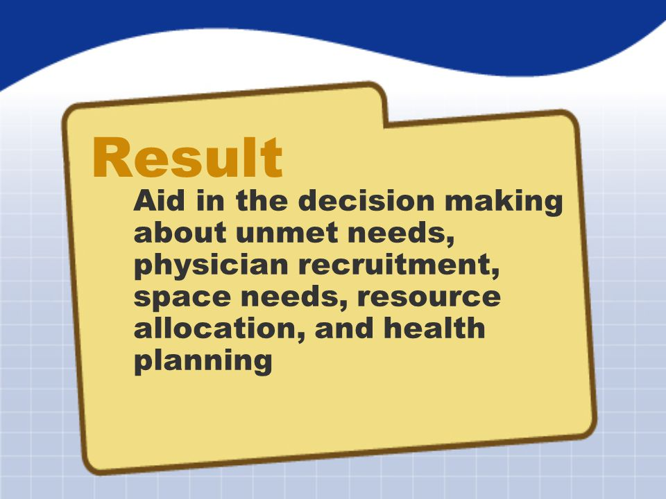 Result Aid in the decision making about unmet needs, physician recruitment, space needs, resource allocation, and health planning