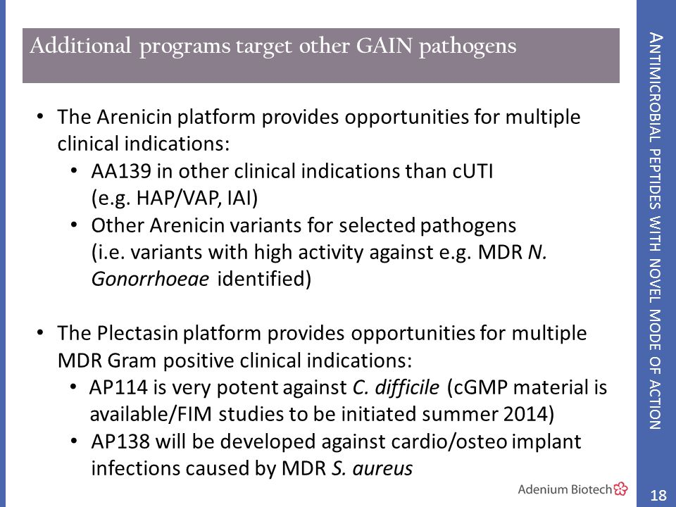 Additional programs target other GAIN pathogens The Arenicin platform provides opportunities for multiple clinical indications: AA139 in other clinical indications than cUTI (e.g.
