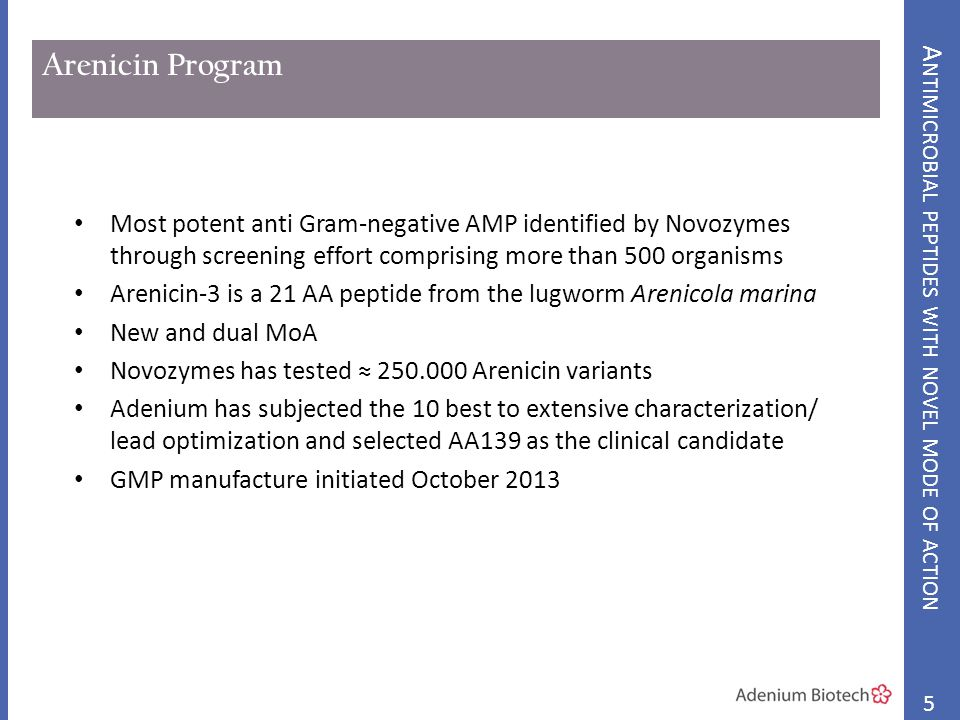 Arenicin Program Most potent anti Gram-negative AMP identified by Novozymes through screening effort comprising more than 500 organisms Arenicin-3 is a 21 AA peptide from the lugworm Arenicola marina New and dual MoA Novozymes has tested ≈ 250.000 Arenicin variants Adenium has subjected the 10 best to extensive characterization/ lead optimization and selected AA139 as the clinical candidate GMP manufacture initiated October 2013 5 A NTIMICROBIAL PEPTIDES WITH NOVEL MODE OF ACTION