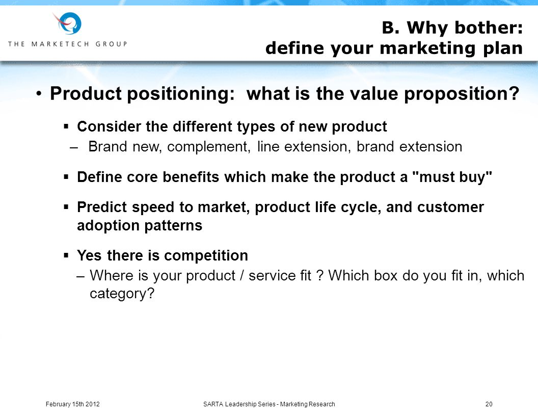 Product positioning: what is the value proposition.