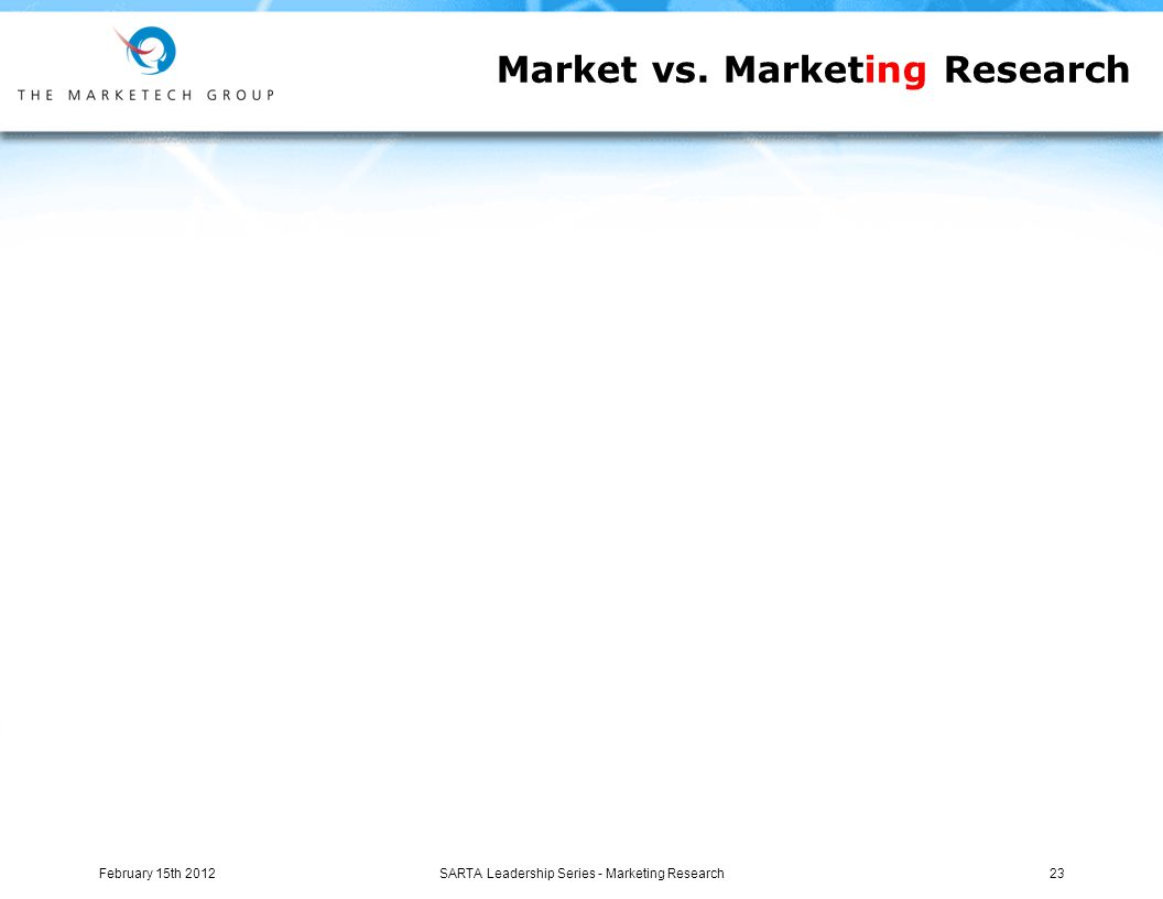 Market vs. Marketing Research February 15th 2012SARTA Leadership Series - Marketing Research23