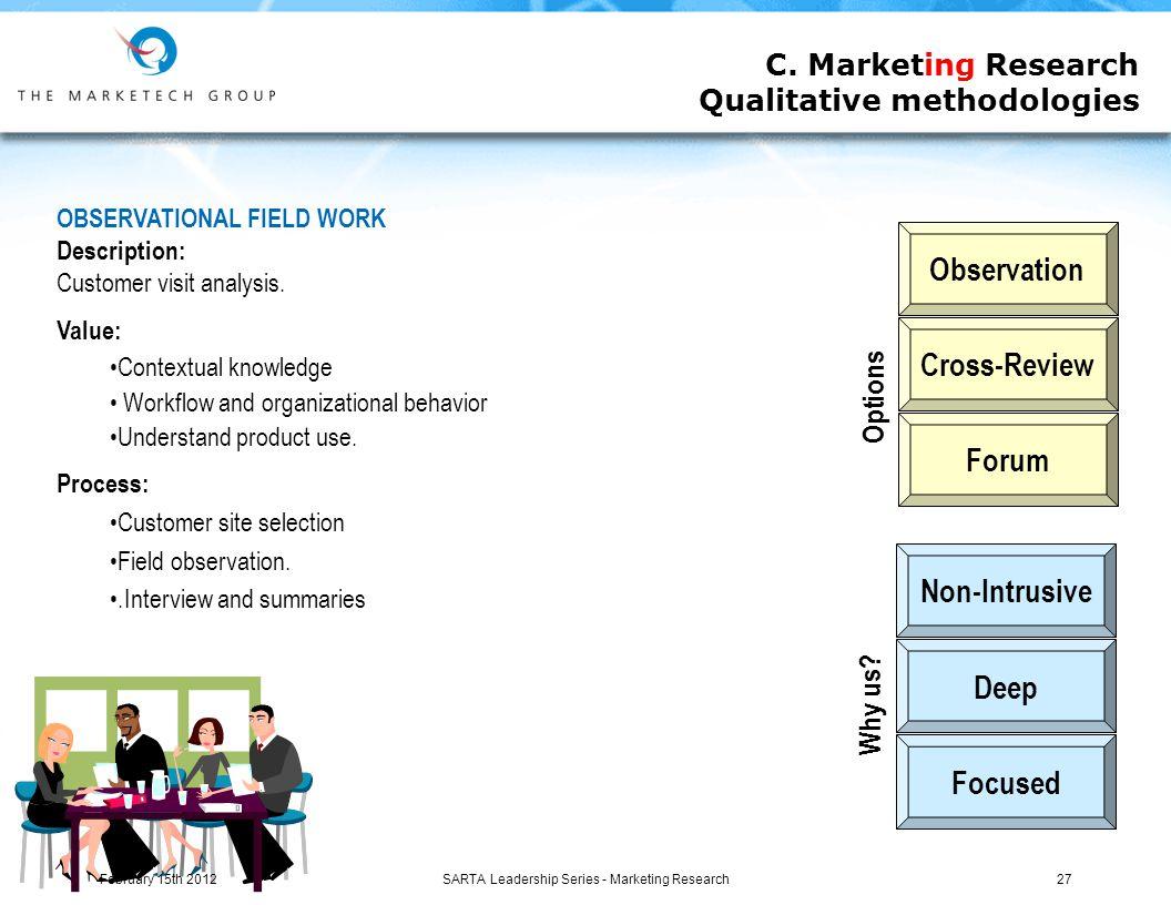 SARTA Leadership Series - Marketing Research27 C.