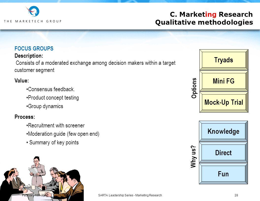 SARTA Leadership Series - Marketing Research28 C.