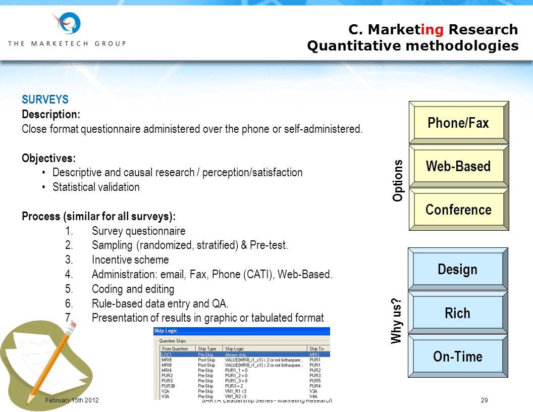 SARTA Leadership Series - Marketing Research29 C.