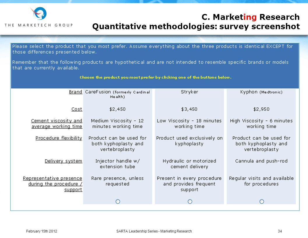 C. Marketing Research Quantitative methodologies: survey screenshot SARTA Leadership Series - Marketing Research34February 15th 2012