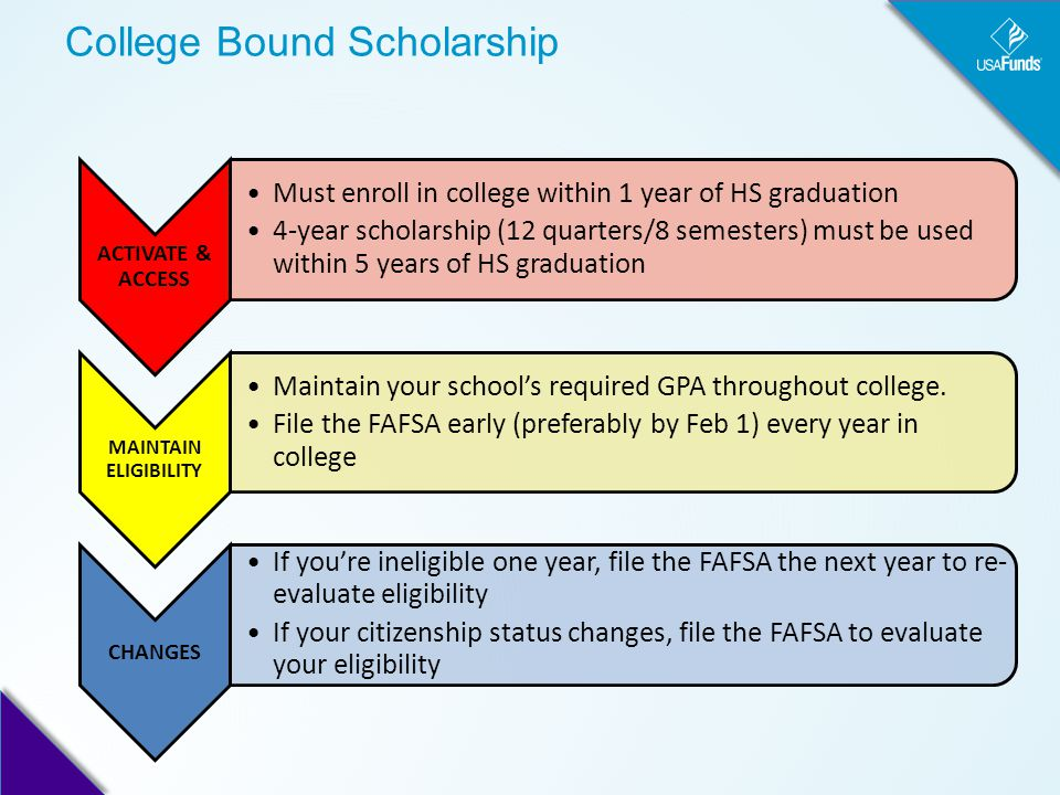 College Bound Scholarship ACTIVATE & ACCESS Must enroll in college within 1 year of HS graduation 4-year scholarship (12 quarters/8 semesters) must be used within 5 years of HS graduation MAINTAIN ELIGIBILITY Maintain your school's required GPA throughout college.