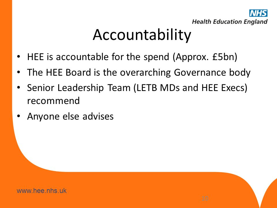www.hee.nhs.uk Accountability HEE is accountable for the spend (Approx. £5bn) The HEE Board is the overarching Governance body Senior Leadership Team