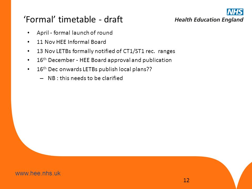 www.hee.nhs.uk 'Formal' timetable - draft April - formal launch of round 11 Nov HEE Informal Board 13 Nov LETBs formally notified of CT1/ST1 rec. rang