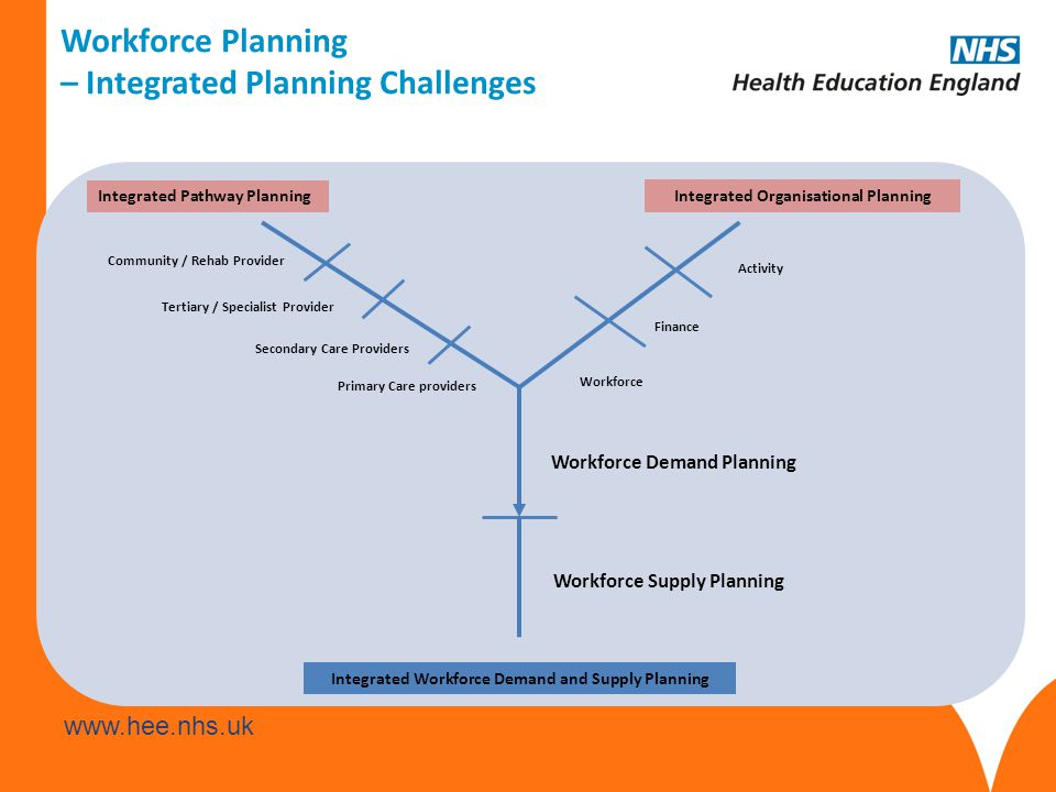 www.hee.nhs.uk Workforce Demand Planning Workforce Supply Planning Workforce Activity Finance Primary Care providers Secondary Care Providers Tertiary