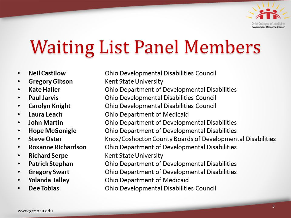 Waiting List Panel Members Neil CastilowOhio Developmental Disabilities Council Gregory Gibson Kent State University Kate Haller Ohio Department of Developmental Disabilities Paul Jarvis Ohio Developmental Disabilities Council Carolyn Knight Ohio Developmental Disabilities Council Laura Leach Ohio Department of Medicaid John Martin Ohio Department of Developmental Disabilities Hope McGonigle Ohio Department of Developmental Disabilities Steve OsterKnox/Coshocton County Boards of Developmental Disabilities Roxanne RichardsonOhio Department of Developmental Disabilities Richard Serpe Kent State University Patrick Stephan Ohio Department of Developmental Disabilities Gregory Swart Ohio Department of Developmental Disabilities Yolanda TalleyOhio Department of Medicaid Dee TobiasOhio Developmental Disabilities Council www.grc.osu.edu 3