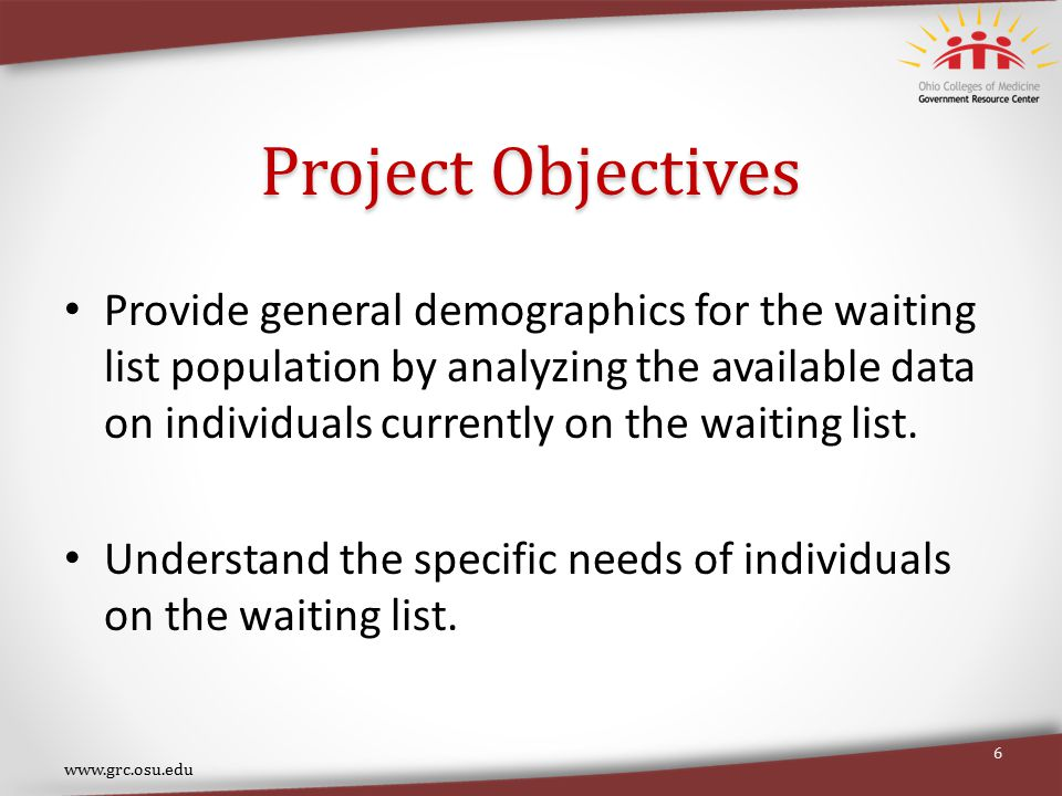 Project Objectives Provide general demographics for the waiting list population by analyzing the available data on individuals currently on the waiting list.