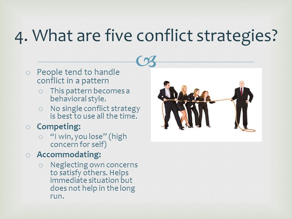  o Avoiding: o Passive withdrawal from the conflict.