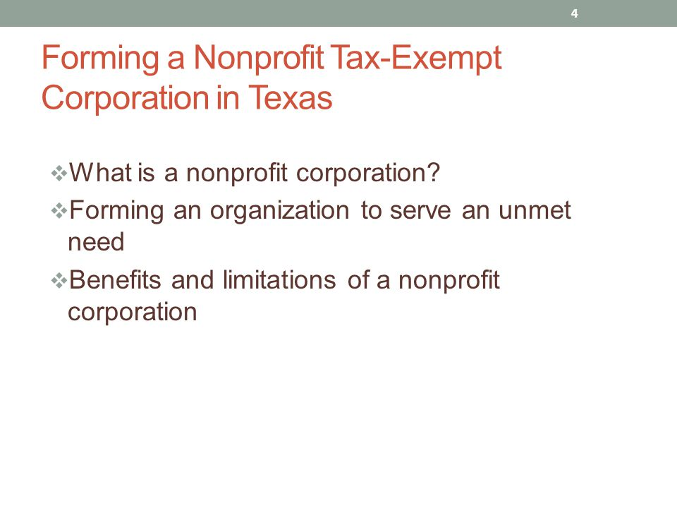  A corporation in which income is NOT distributed to a members  Tax-Exemption under section 501(c)(3)  Purposes: religious, charitable, scientific, testing for public safety, literary, educational, or prevention of cruelty to children or animals 5 What is a Nonprofit Corporation?