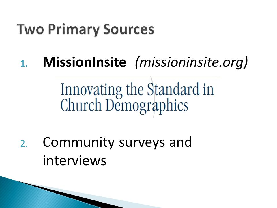 1. MissionInsite (missioninsite.org) 2. Community surveys and interviews