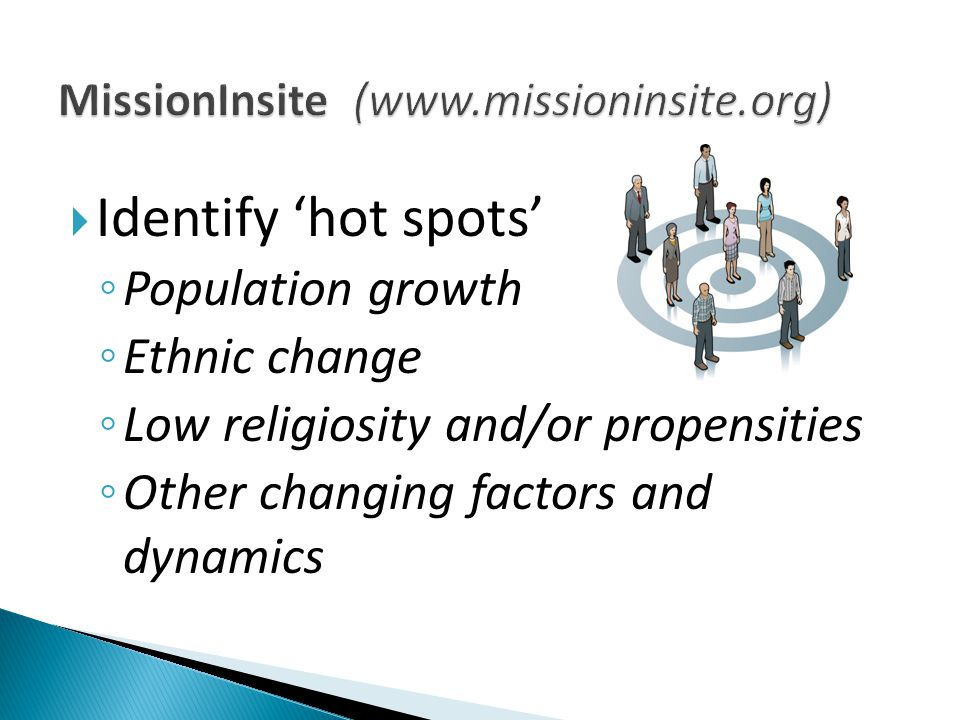  Identify 'hot spots' ◦ Population growth ◦ Ethnic change ◦ Low religiosity and/or propensities ◦ Other changing factors and dynamics