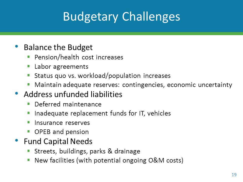 Balance the Budget  Pension/health cost increases  Labor agreements  Status quo vs.