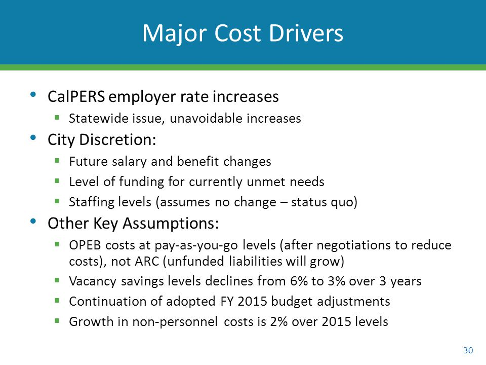 CalPERS employer rate increases  Statewide issue, unavoidable increases City Discretion:  Future salary and benefit changes  Level of funding for currently unmet needs  Staffing levels (assumes no change – status quo) Other Key Assumptions:  OPEB costs at pay-as-you-go levels (after negotiations to reduce costs), not ARC (unfunded liabilities will grow)  Vacancy savings levels declines from 6% to 3% over 3 years  Continuation of adopted FY 2015 budget adjustments  Growth in non-personnel costs is 2% over 2015 levels 30 Major Cost Drivers