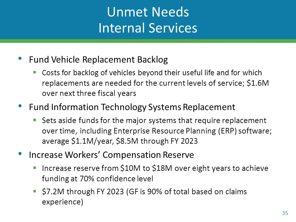 Fund Vehicle Replacement Backlog  Costs for backlog of vehicles beyond their useful life and for which replacements are needed for the current levels of service; $1.6M over next three fiscal years Fund Information Technology Systems Replacement  Sets aside funds for the major systems that require replacement over time, including Enterprise Resource Planning (ERP) software; average $1.1M/year, $8.5M through FY 2023 Increase Workers' Compensation Reserve  Increase reserve from $10M to $18M over eight years to achieve funding at 70% confidence level  $7.2M through FY 2023 (GF is 90% of total based on claims experience) 35 Unmet Needs Internal Services