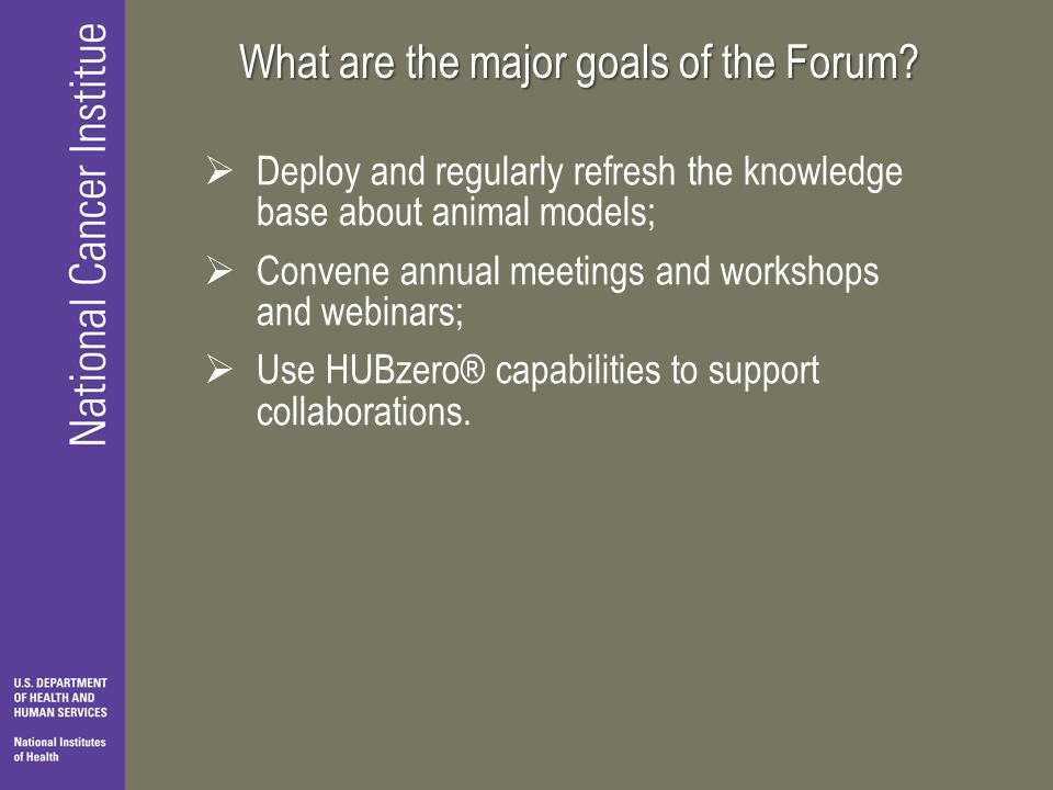 What are the major goals of the Forum.